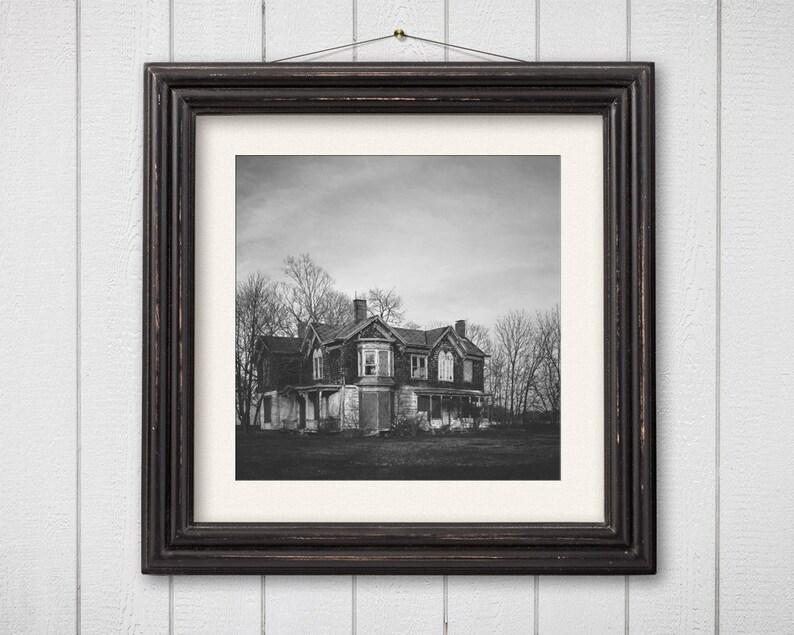 Abandoned House Photograph Black and White Halloween Decor image 0