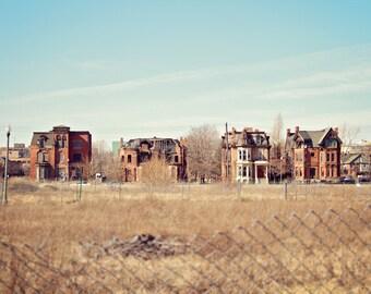 Architecture Photography, Detroit Art, 5x7 Print, Landscape Photography, Brush Park, Urban Exploration, Abandoned Building Photography
