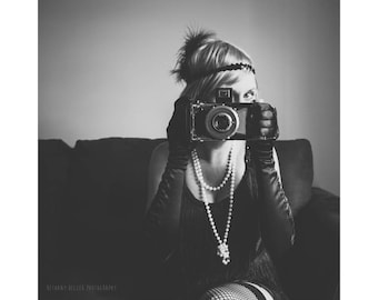 Flapper Portrait Photography Black and White Photography Flapper Girl Vintage Camera Black and White Portrait Female Portrait Fine Art