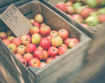 Autumn Photography, Fall Decor, 5x7 Print, Dreamy Photography, Autumn Decor, Apples, Rustic Decor, Kitchen Decor, Kitchen Photography, Red
