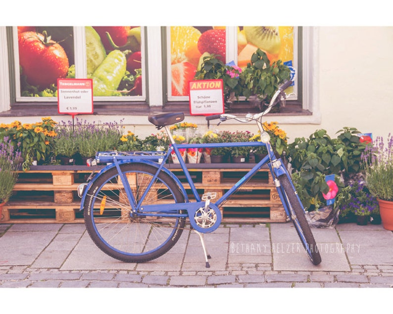 Blue Bicycle Photograph Germany Photography Wanderlust Travel image 0