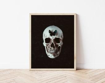 Human Skull Photography Halloween Decor Dark Photography Still Life Photography Butterfly Photography Skull Wall Art Death Graveyard