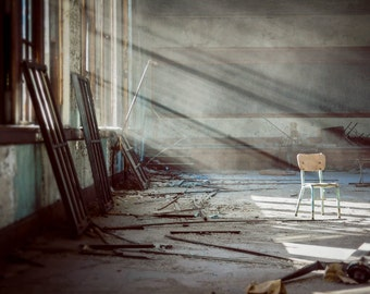 Architecture Photography, Detroit Art, 8x12 Print, Urban Exploration, Dreamy Photography, Home Decor, Abandoned, Chair, Pastel, Grey