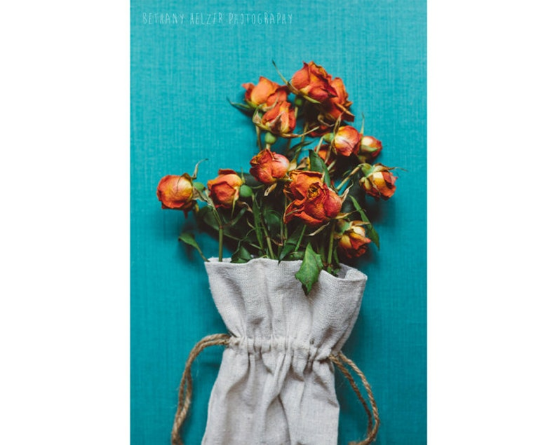 Rose Bouquet 8x12 Print Still Life Photography Teal Teal image 0