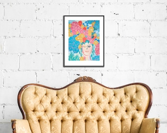 Meet Me in the Garden - Painting of Woman, Woman Painting Print, Woman with Flowers, Plant Lady, Flower Painting, Abstract Painting, Floral