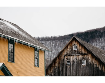 Vermont Photography Winter Landscape Photography Plymouth Vermont Architecture Photography New England Barn Print Green Mountains