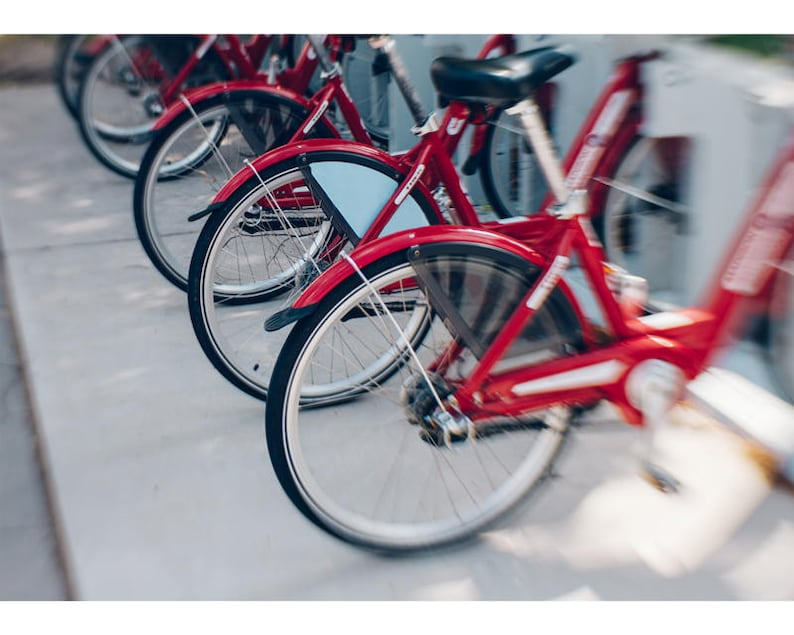 Bicycle Art 5x7 Print Wisconsin Art Red Bicycles Red Bikes image 0