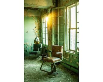 Abandoned Building Photography, Hair Salon Art, Abandoned Hair Salon, Hairdresser, Detroit Art, Urban Exploration, Abandoned Art, Green