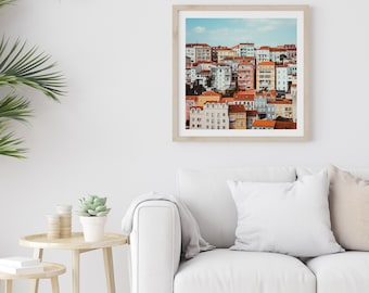 Coimbra Portugal Photography Architecture Photography Colorful Houses Travel Photography Portugal Art Square Photography Pastel House Print