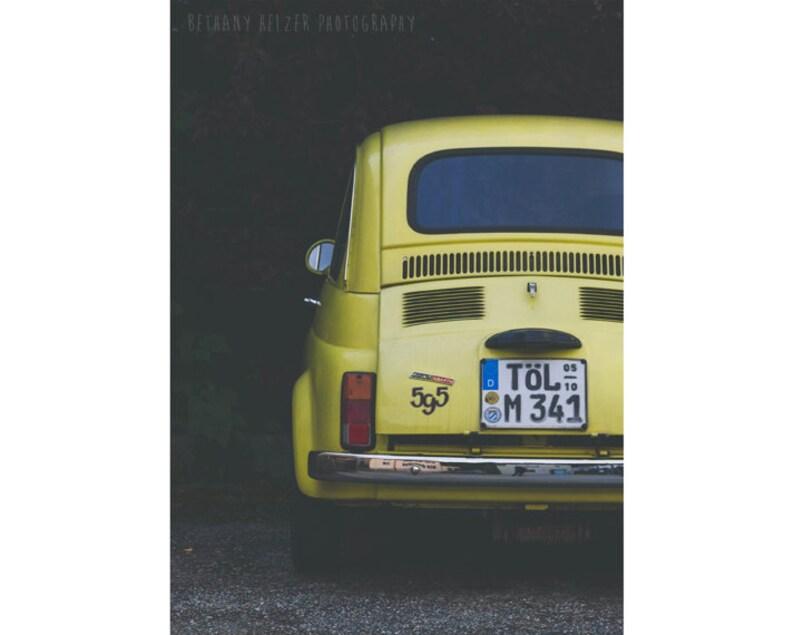 Car Photography 5x7 Print Vintage Car Fiat 595 Yellow Car image 0