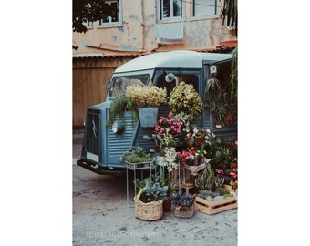 Lisbon Portugal Photography Flower Truck Lisbon Art Dreamy Photography Vintage Car Photography Flower Photography Rustic Decor