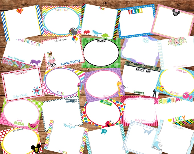 Girl or Boy Flat Thank You Note Cards with Envelopes - Made to match ANY of my invitations