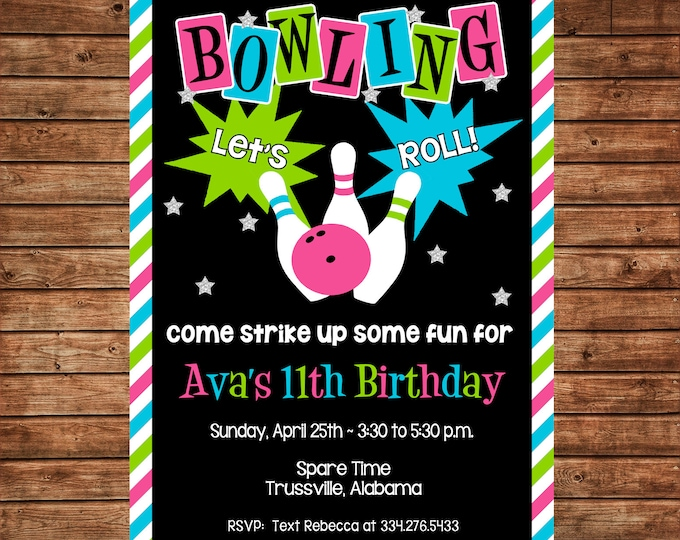 Girl Invitation Bowling Alley Tween Teen Retro Birthday Party - Can personalize colors /wording - Printable File or Printed Cards