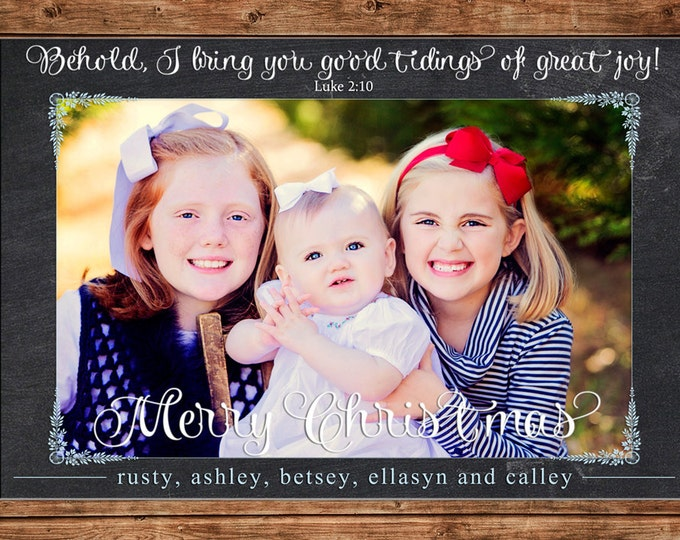 Christmas Holiday Photo Card Elegant Chalkboard - Can Personalize - Printable File or Printed Cards