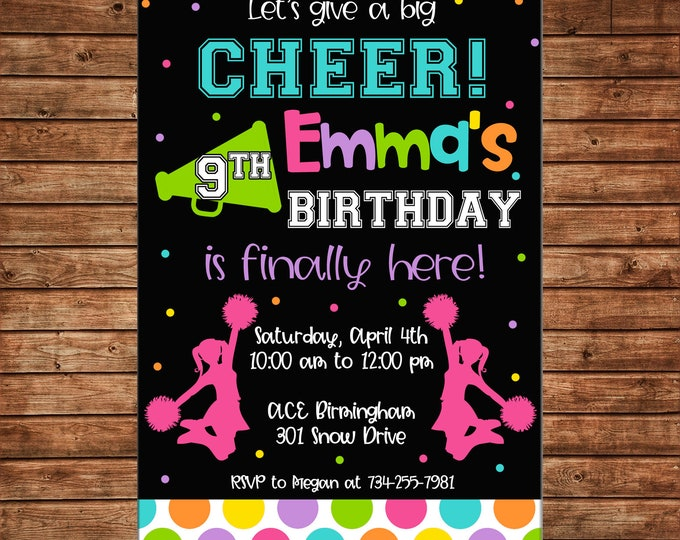 Girl Invitation Cheerleading Cheerleader Cheer Tumbling Birthday Party - Can personalize colors /wording - Printable File or Printed Cards