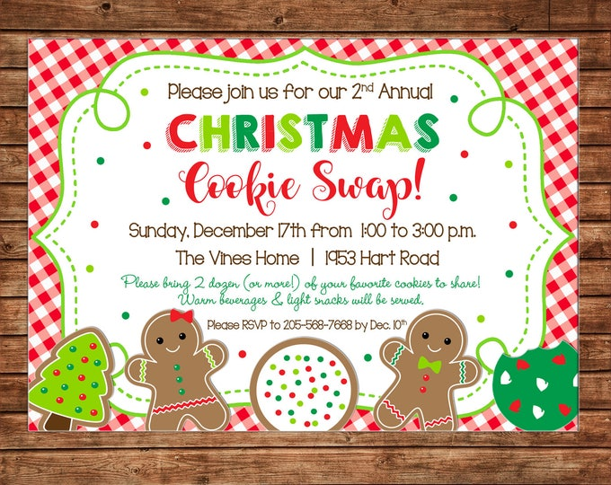 Christmas Invitation Cookie Swap Exchange Party - Can personalize colors /wording - Printable File or Printed Cards