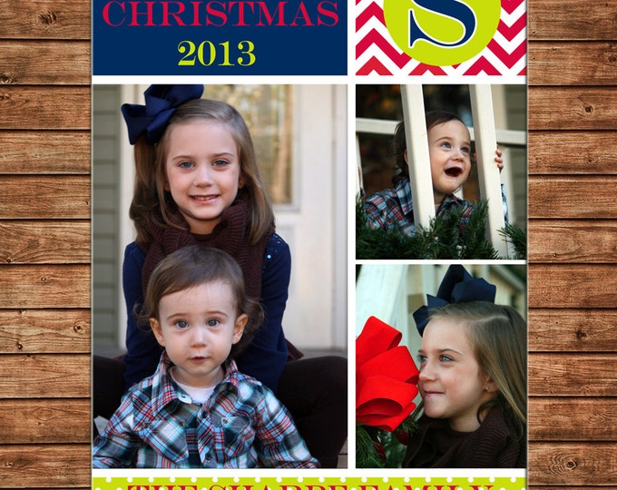 Christmas Holiday Photo Card Navy Lime Red - Can Personalize - Printable File or Printed Cards