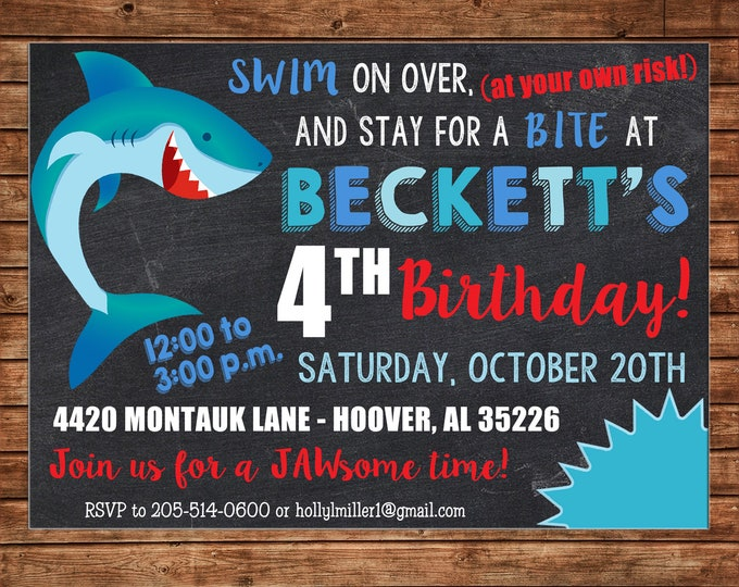 Boy or Girl Invitation Shark Pool Beach Birthday Party - Can personalize colors /wording - Printable File or Printed Cards