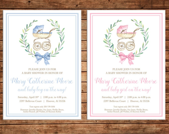 Boy or Girl Invitation Watercolor Laurel Wreath Carriage Shower Party - Can personalize colors /wording - Printable File or Printed Cards