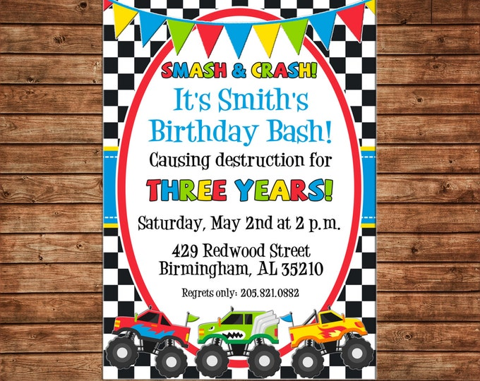 Boy Invitation Monster Truck Birthday Party - Can personalize colors /wording - Printable File or Printed Cards