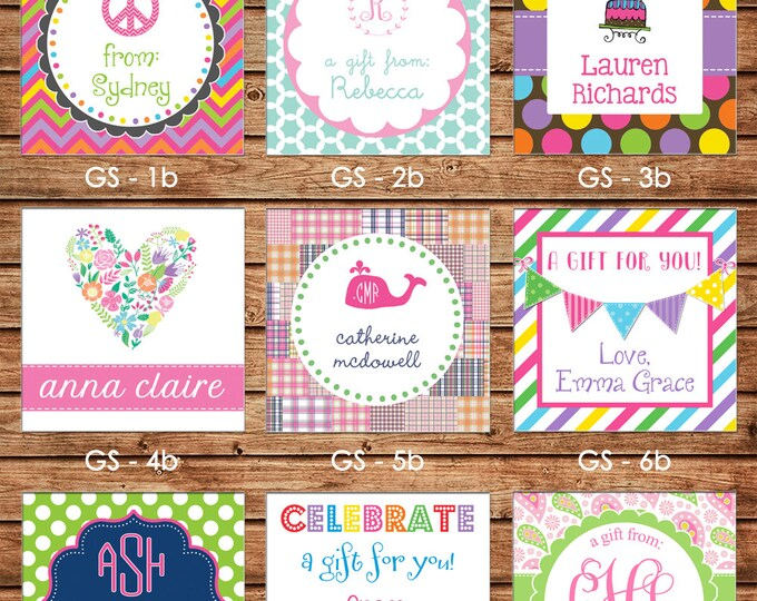 24 Square Personalized Girl Enclosure Cards, Gift Stickers, Gift Tags