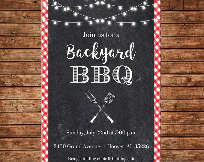Invitation Backyard BBQ Rustic String Lights Block Party - Can personalize colors /wording - Printable File or Printed Cards