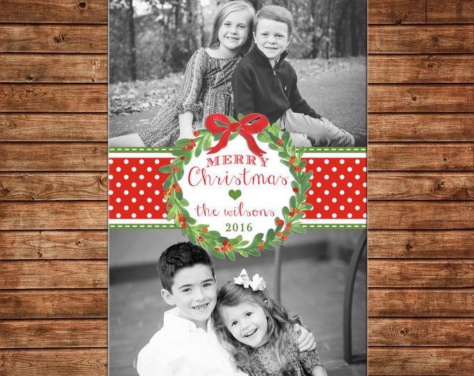 Christmas Holiday Photo Card Watercolor Wreath Ribbon - Can Personalize - Printable File