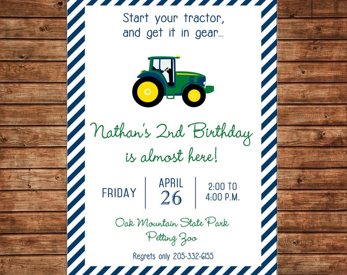 Boy or Girl Invitation Farm Barn Tractor Birthday Party - Can personalize colors /wording - Printable File or Printed Cards