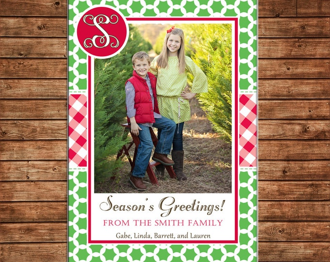 Christmas Holiday Photo Card Red Gingham Monogram - Can Personalize - Printable File or Printed Cards