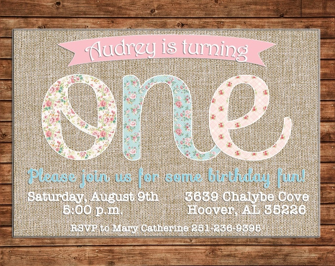 Girl Invitation Vintage Fabric Burlap Lace Birthday Party - Can personalize colors /wording - Printable File or Printed Cards