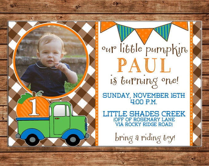 Boy Photo Invitation Pumpkin Patch Truck Birthday Party - Can personalize colors /wording - Printable File or Printed Cards