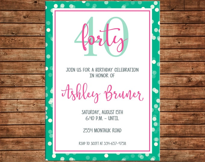 Girl Invitation Milestone 16th 21st 40th 50th 60th Birthday Party - Can personalize colors /wording - Printable File or Printed Cards