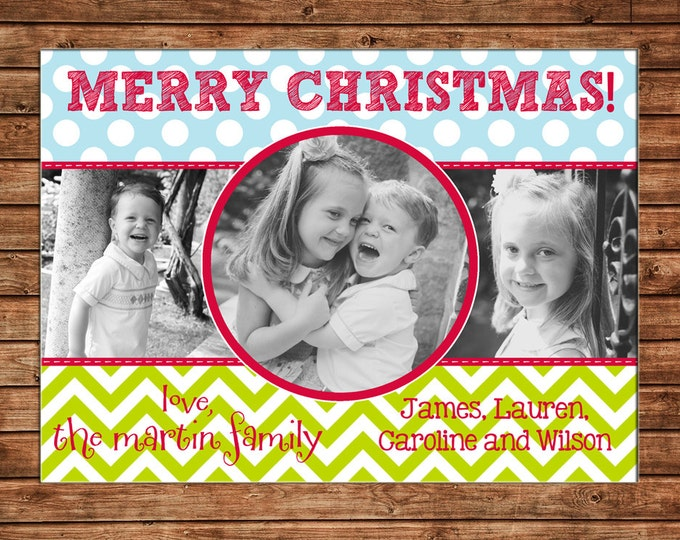 Christmas Holiday Photo Card Whimsical Polka Dots Chevron - Can Personalize - Printable File or Printed Cards