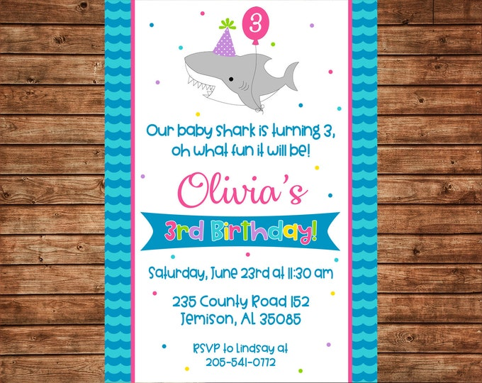 Girl or Boy Invitation Baby Shark Pool Beach Birthday Party - Can personalize colors /wording - Printable File or Printed Cards