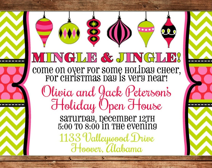 Christmas Invitation Ornament Swap Holiday Open House Party - Can personalize colors /wording - Printable File or Printed Cards