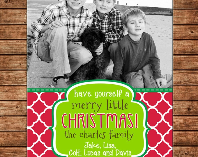 Christmas Holiday Photo Card Whimsical Clover Print - Can Personalize - Printable File or Printed Cards