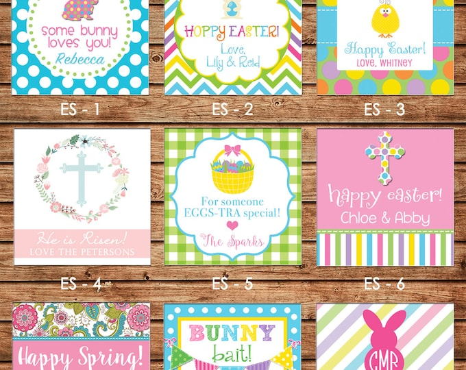 24 Square Personalized Easter Spring Enclosure Cards, Gift Stickers, Gift Tags