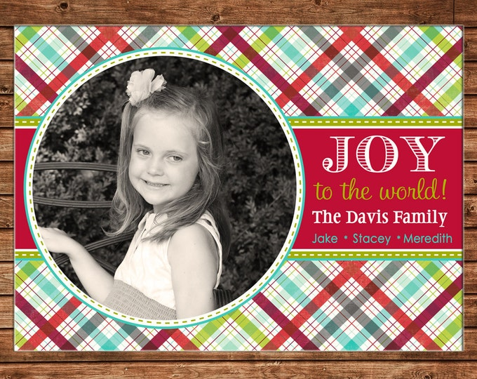 Christmas Holiday Photo Card Colorful Tartan Plaid - Can Personalize - Printable File or Printed Cards