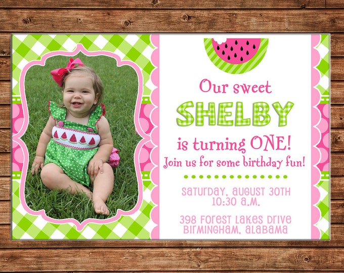 Girl Invitation Watermelon Gingham Summer Birthday Party - Can personalize colors /wording - Printable File or Printed Cards