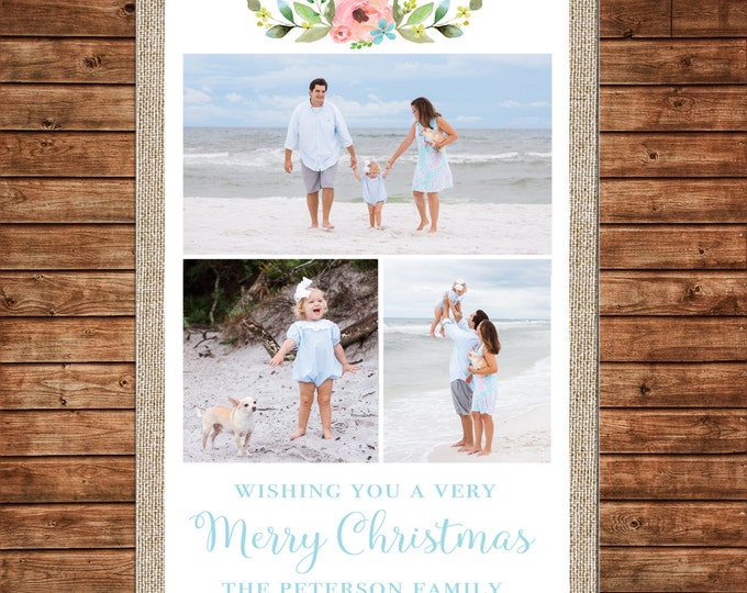 Christmas Holiday Photo Card Burlap Watercolor Floral Flowers - Can Personalize - Printable File or Printed Cards