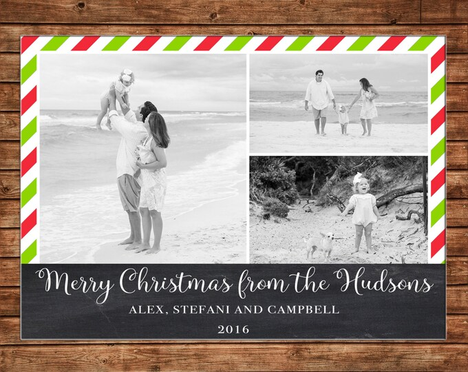 Christmas Holiday Photo Card Chalkboard Red Green Stripe - Can Personalize - Printable File or Printed Cards