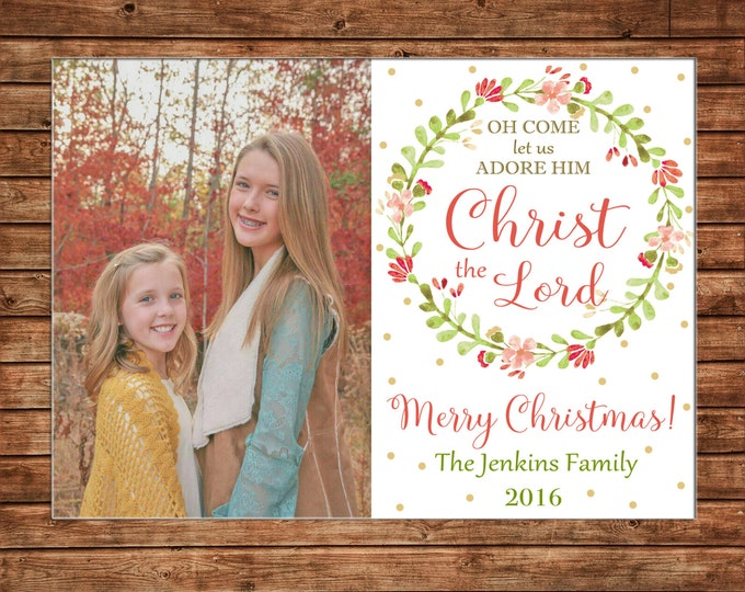 Christmas Holiday Photo Card Watercolor Floral Wreath - Can Personalize - Printable File