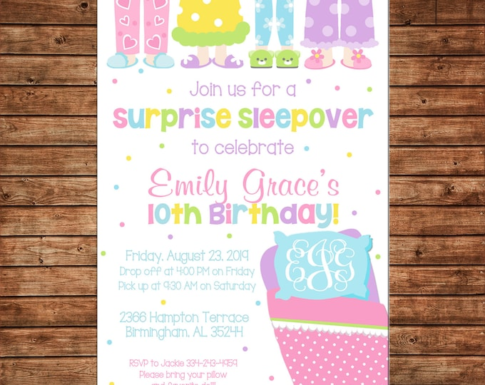 Girl Invitation Sleepover Spend the Night Slumber Birthday Party - Can personalize colors /wording - Printable File or Printed Cards