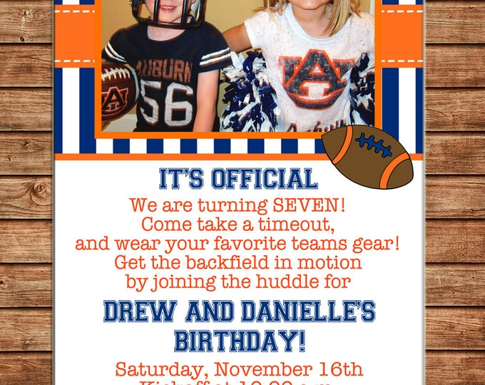 Boy or Girl Photo Invitation Football Team Cheerleader Birthday Party - Can personalize colors /wording - Printable File or Printed Cards