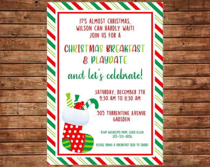 Boy or Girl Invitation Christmas Birthday Party - Can personalize colors /wording - Printable File or Printed Cards