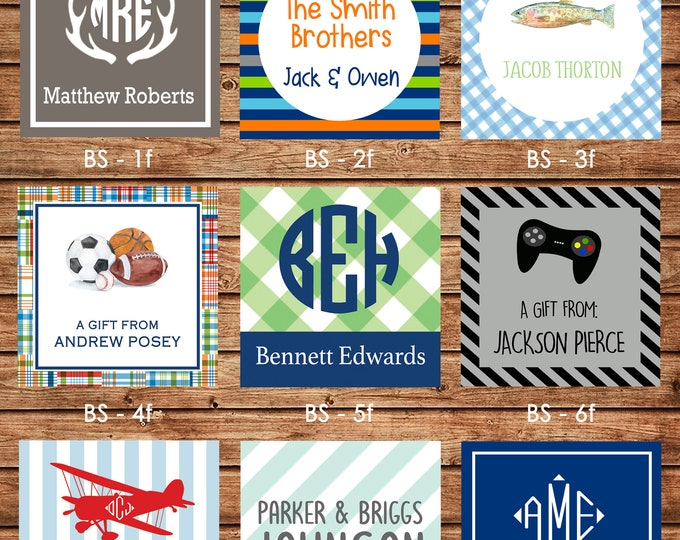 24 Square Personalized Boy Enclosure Cards, Gift Stickers, Gift Tags