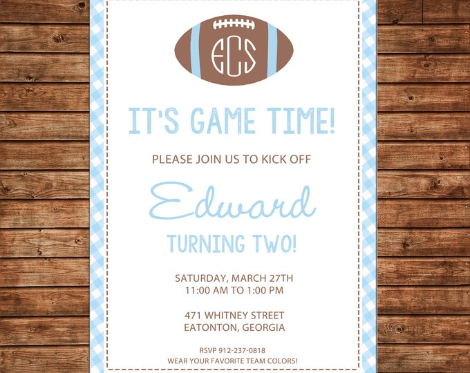 Boy Invitation Monogram Football Gingham Baby Shower Birthday Party - Can personalize colors /wording - Printable File or Printed Cards