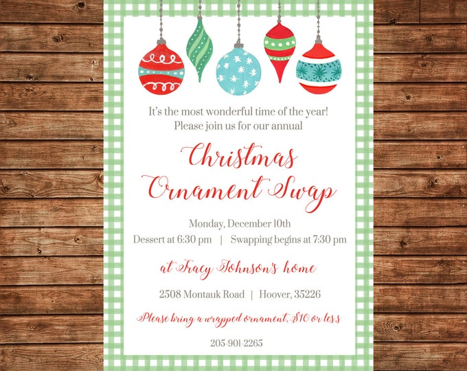 Invitation Watercolor Ornament Swap Exchange Christmas Shower Party - Can personalize colors /wording - Printable File or Printed Cards