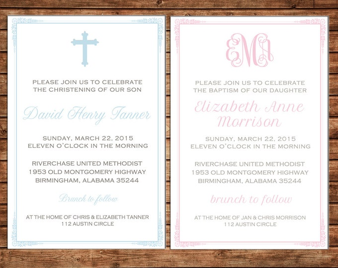 Boy or Girl Invitation Baptism Christening Dedication Cross Announcement - Can personalize colors /wording - Printable File or Printed Cards