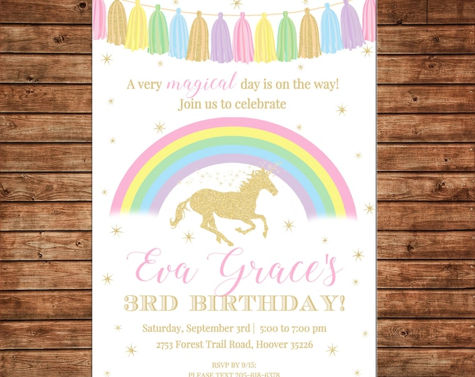 Girl Invitation Tassel Rainbow Unicorn Glitter Birthday Party - Can personalize colors /wording - Printable File or Printed Cards